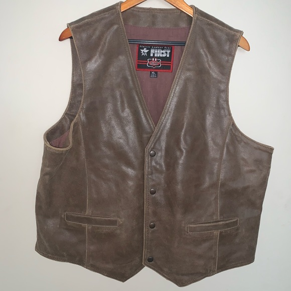 First Gear Other - Mens Brown Leather Vest Size XL First Gear